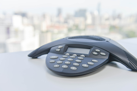 ip: IP Conference Phone on the white table Stock Photo
