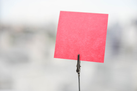 paper note: Mockup of pink paper note Stock Photo