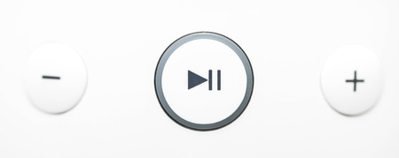 Play - pause and volume button Stock Photo