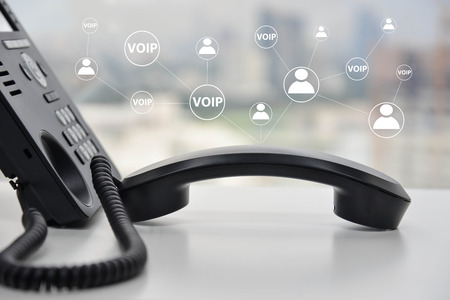VOIP - IP Phone technology connecting to other device Stock Photo