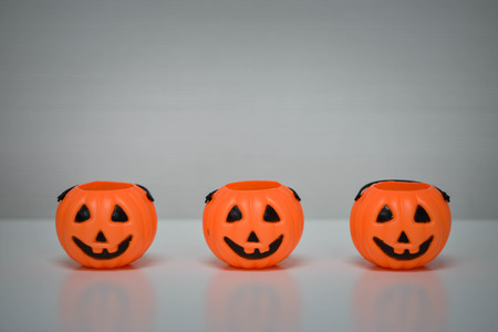 Halloween pumpkins plastic for putting candy Stock Photo