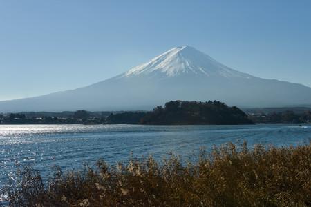 Mount Fuji with kawaguchiko lake view with sunray