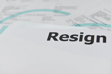 resignation: Resignation letter in the envelope
