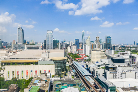 June 2017 at Bangkok Thailand - Cityscape of high view Siam area and people walking at the front of Siam Paragon in Bangkok Thailand Editorial