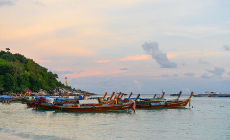 March 2017 in Lipe Thailand - Boat are docking at the beach in the evening