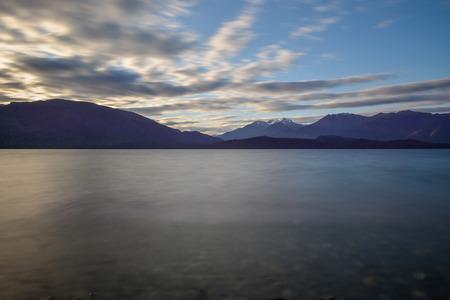 Long exposure of Lake Te Anau in New Zealand