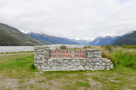 Stone Signs of Arthurs pass, national park Archivio Fotografico