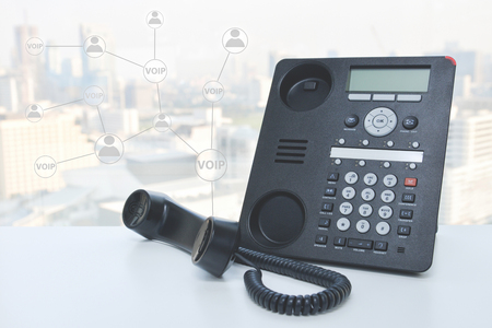 IP Phone with icon for concept of phone connected to multi device Standard-Bild - 106658949