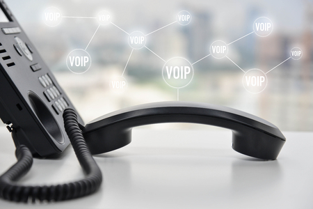 IP Phone with voip icon for technology of communication connection concept Standard-Bild