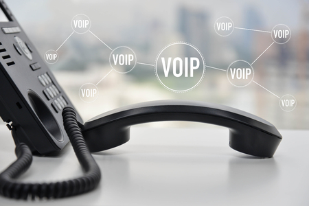 IP Phone with voip icon for device connect concept Standard-Bild - 118981976