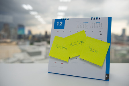 Vacation, holiday and leave on paper note stick on the calendar of December for year end holidays concept Standard-Bild - 118982046