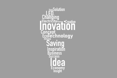 Light bulb made from words for innovate business concept Banco de Imagens