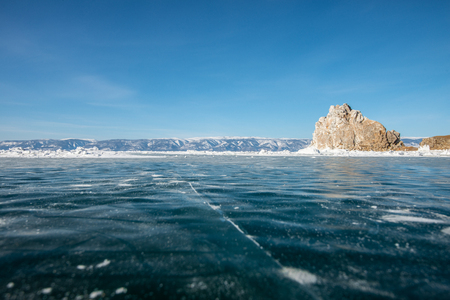 Cracks on the ice at the Baikal lake in Russia - Landscape Banco de Imagens
