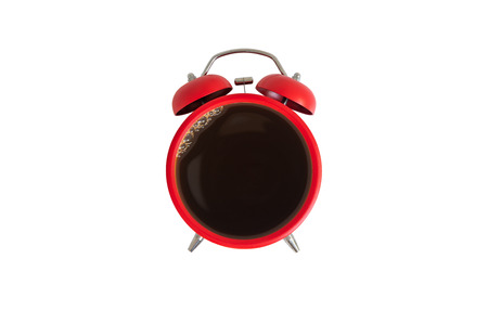 Twin bell red alarm clock with coffee cup on the white screen