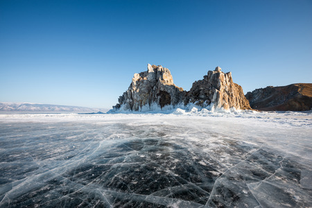 Landscape of rocky hill on the frozen lake of Baikal in Russia