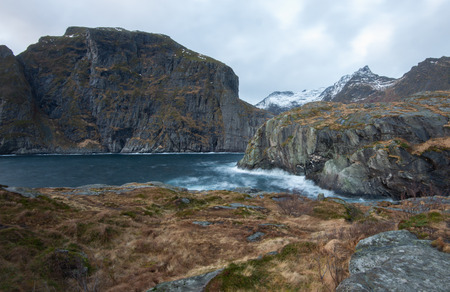 Landscape of sea and cliff of fjord in Lofoten Norway