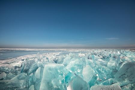 Landscape crack ice on Baikal frozen water lake in winter season at Russia Banco de Imagens