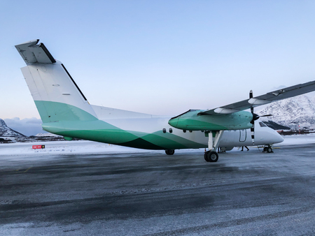 Close up passenger propeller plane park on the runway Banco de Imagens - 121552351