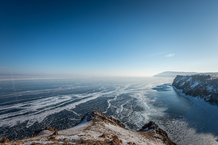 Landscape of mountain with the frozen lake of Baikal in Russia Banco de Imagens - 121552502