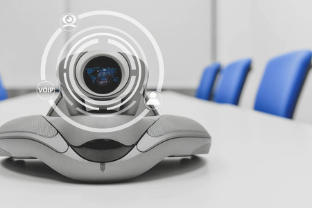 Video conference device with technology icon of cam, human and voip for connection technology concept Imagens