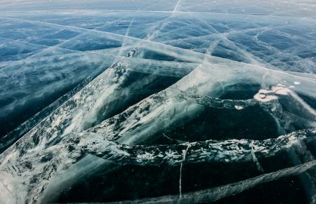 Close up of cracks on the ice at Baikal lake Banco de Imagens