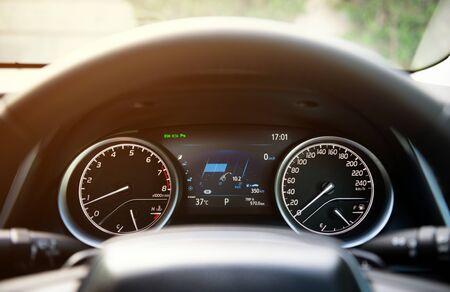 Modern car dashboard console on luxury car