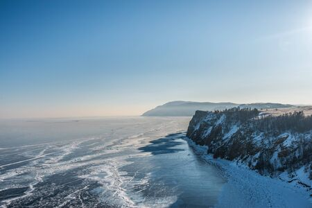 Landscape of mountain with the frozen lake of Baikal in Russia