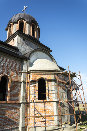 believers: Local Orthodox Church in northern Bosnia and Herzegovina in construction.