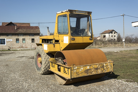 steamroller: Photographed steamroller during a break in the construction of a local road in northern Bosnia and Herzegovina. Stock Photo
