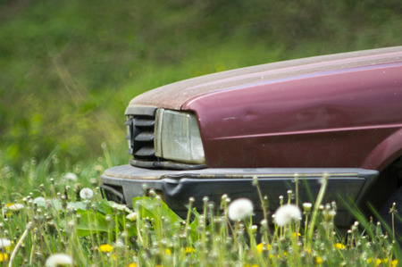 abandoned car: Photographed part of the old abandoned car on a meadow.