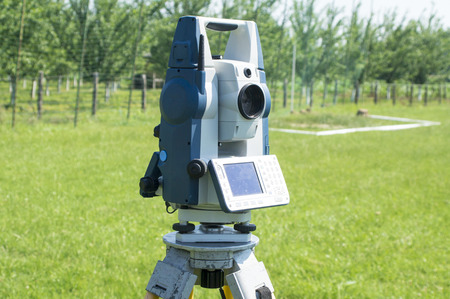 geodesy: Photographed during the measurement pitch for the football stadium. Stock Photo