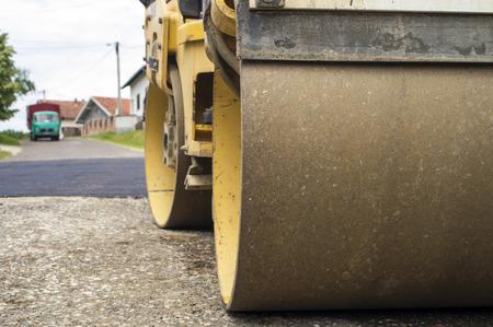 resurfacing: Photographed steamroller at road reconstruction.