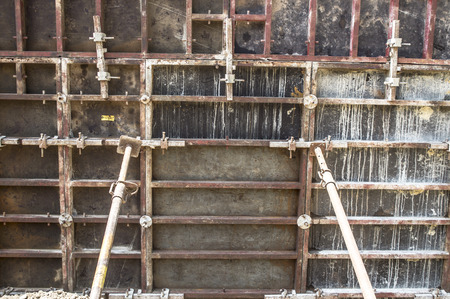 formwork: Photographed formwork and supporting pillars during the construction of the bridge.