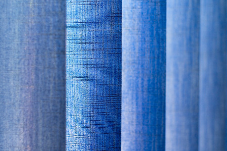 jalousie: Blue vertical jalousie texture  in the office. Stock Photo