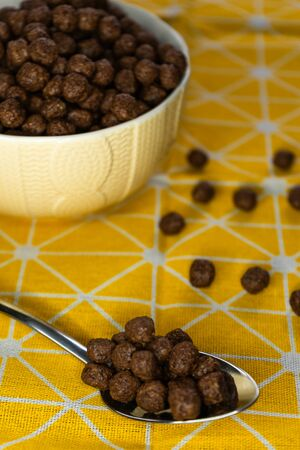 selective focus, a healthy Breakfast, chocolate chips, cereal for the kids. Pour milk, contain calcium and vitamins. Vertical position.