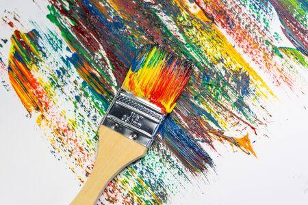 paint brush with oil color paint, background 免版税图像