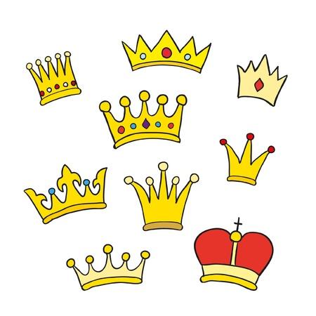 corona reina: Dibujado a mano coronas. Ilustraci�n vectorial