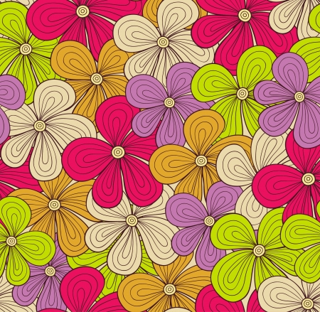 Seamless colorful floral pattern. Vector background Vector