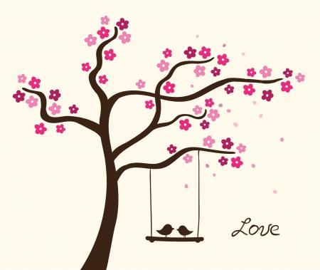 oiseau dessin: Arbre d'amour de fleur. Vector illustration
