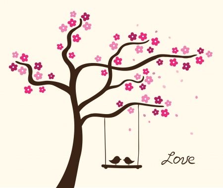 Flower love tree. Vector illustration Illustration