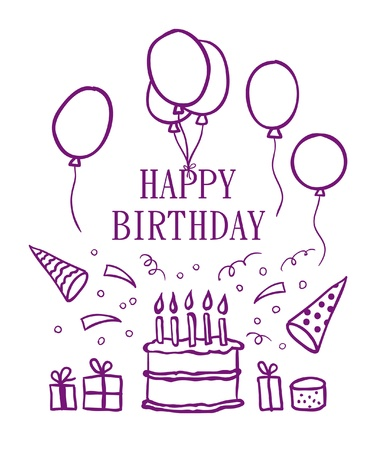 Happy birthday doodle elements. Vector