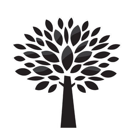 tree growing: Stylized vector tree. Black and white Illustration