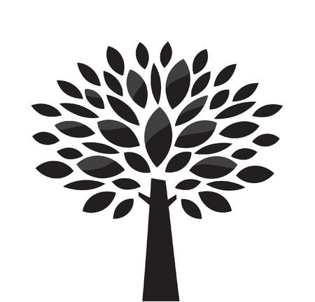 albero stilizzato: Vettore, albero stilizzato. In bianco e nero Vettoriali
