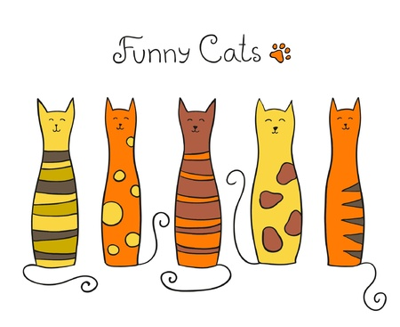 cat tail: Five funny cats illustration