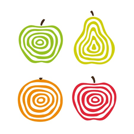 Stylized fruit icons.