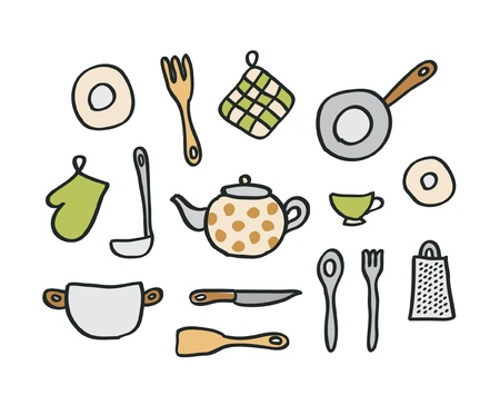 Doodle kitchen elements Vector