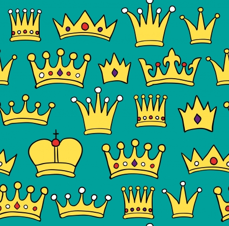 Seamless crown pattern on green background  Vector illustration Vector