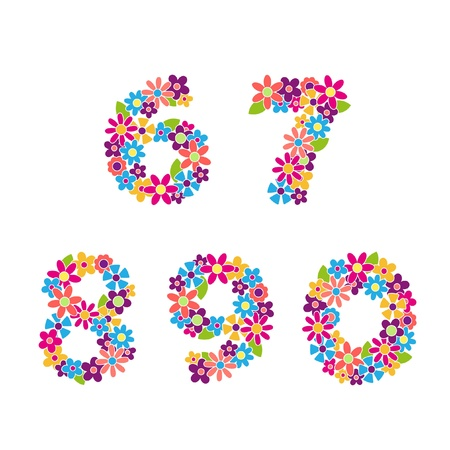 0 6: Beautiful floral numbers  Vector Illustration
