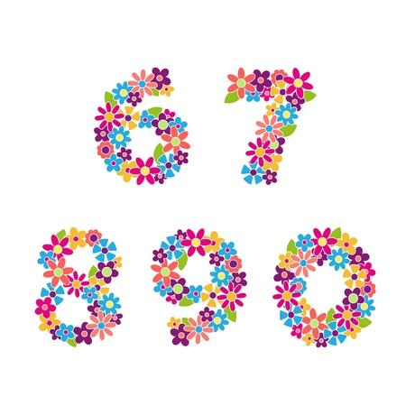 Piękny kwiatowy wektorowa numery