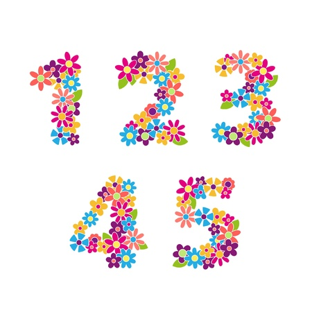 three colors: Beautiful floral numbers  Vector Illustration